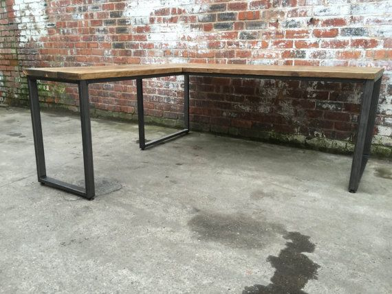 L Shaped Desk Industrial Style With Reclaimed Wood And Steel Rustic Vintage Urban Home Office Handmade Industrial Style Desk Industrial Style L Shaped Desk