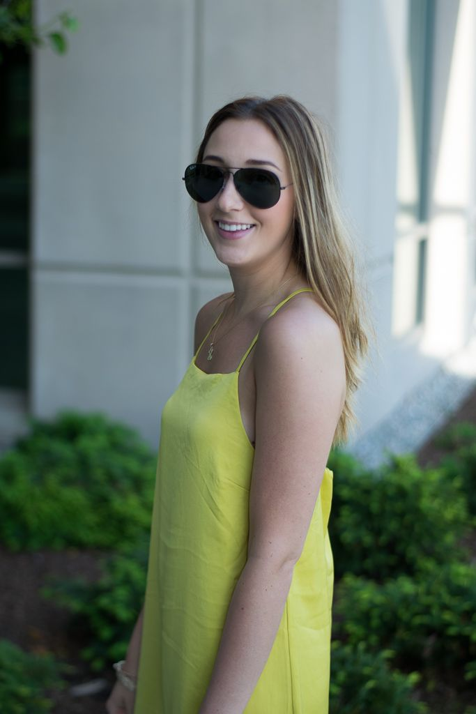 Citron Yellow Dress  //  Black Lace Up Sandals  //  Leopard Clutch  //  Ray- Ban Aviators Just wanted to quickly shar...