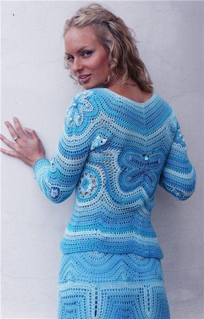 Anleitungen für Tops, Rock  Pulli... auf meiner Pinnwand Pulli - sweater ;O) Set - Blauer Pulli häkeln - crochet sweater