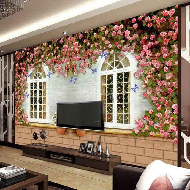 Vintage Rose Window Wallpaper Personalized Photo Wallpaper