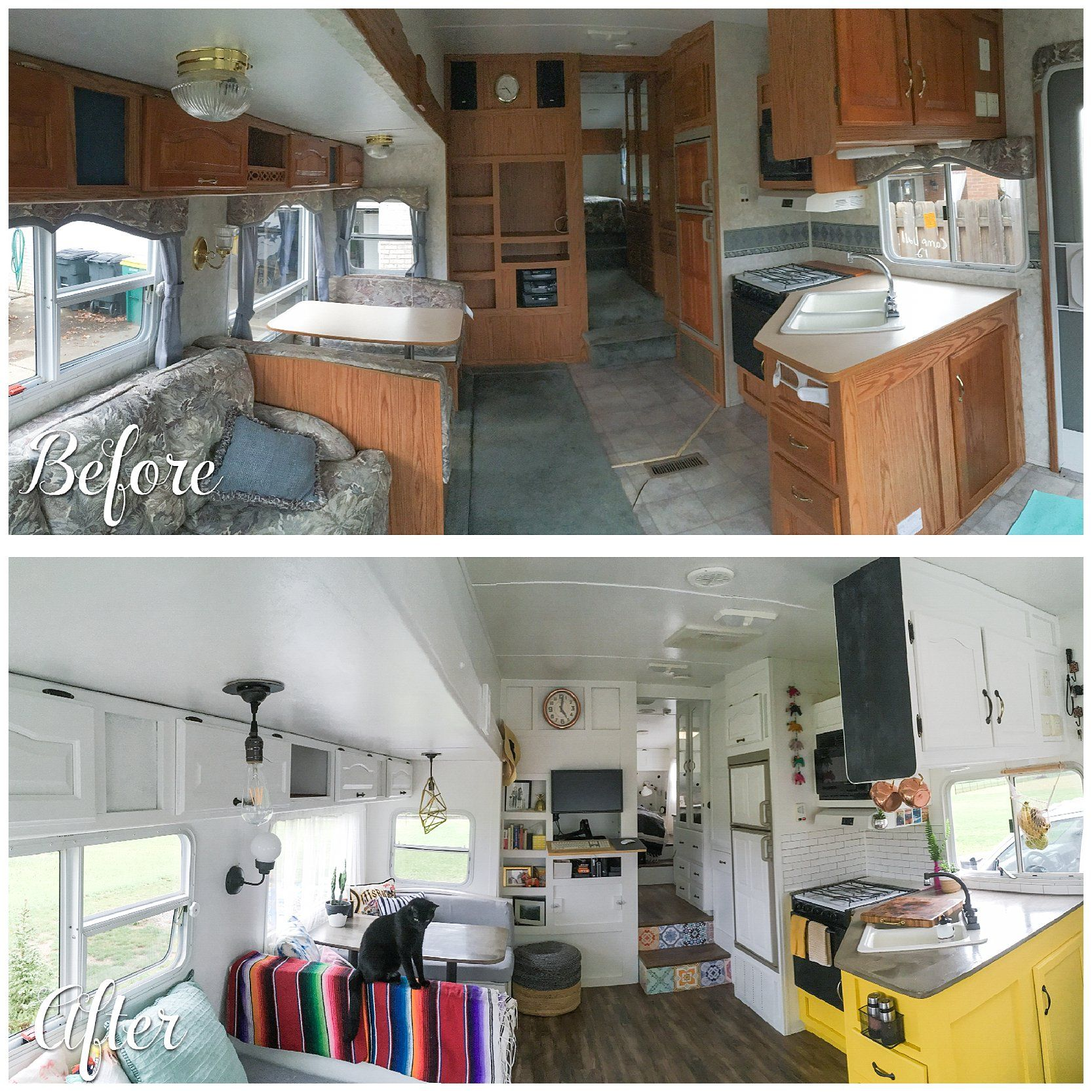 A Before And After Photo Of A Camper Renovation The Main Living Space Vintage Camper Remodel
