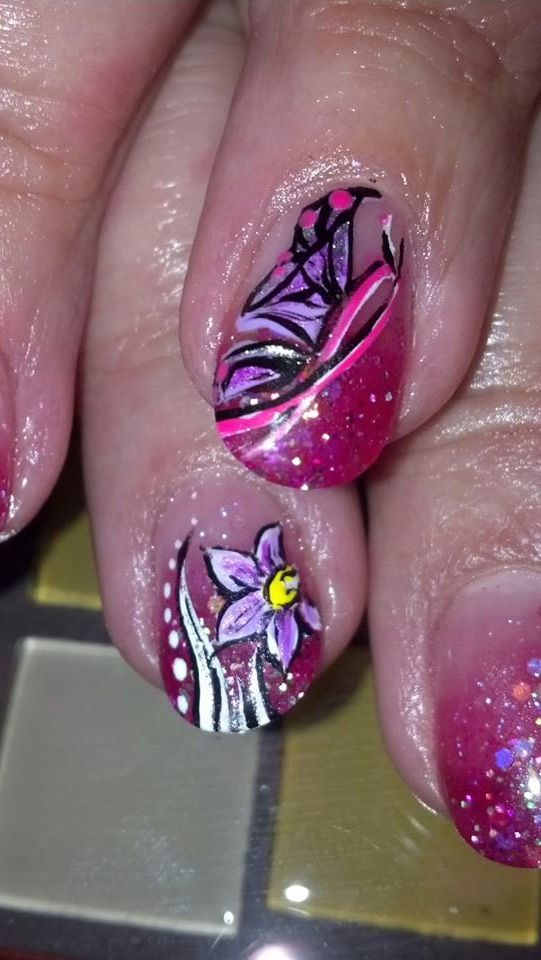 Breast Cancer Awareness Nail Art Design with (Memorial Flower ...