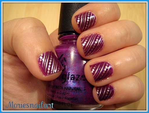 Lovely Purple And Silver Nail Art