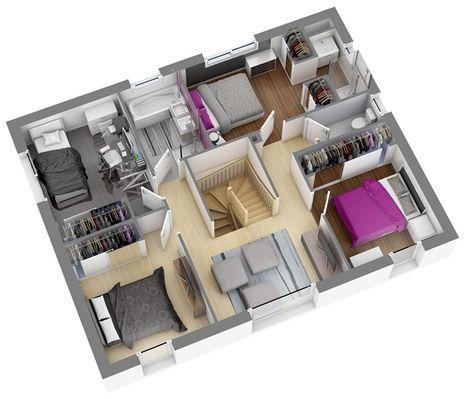 Modèles et plans de maisons \u003e Modèle à étage Ligne Citadine - faire son plan de maison en 3d