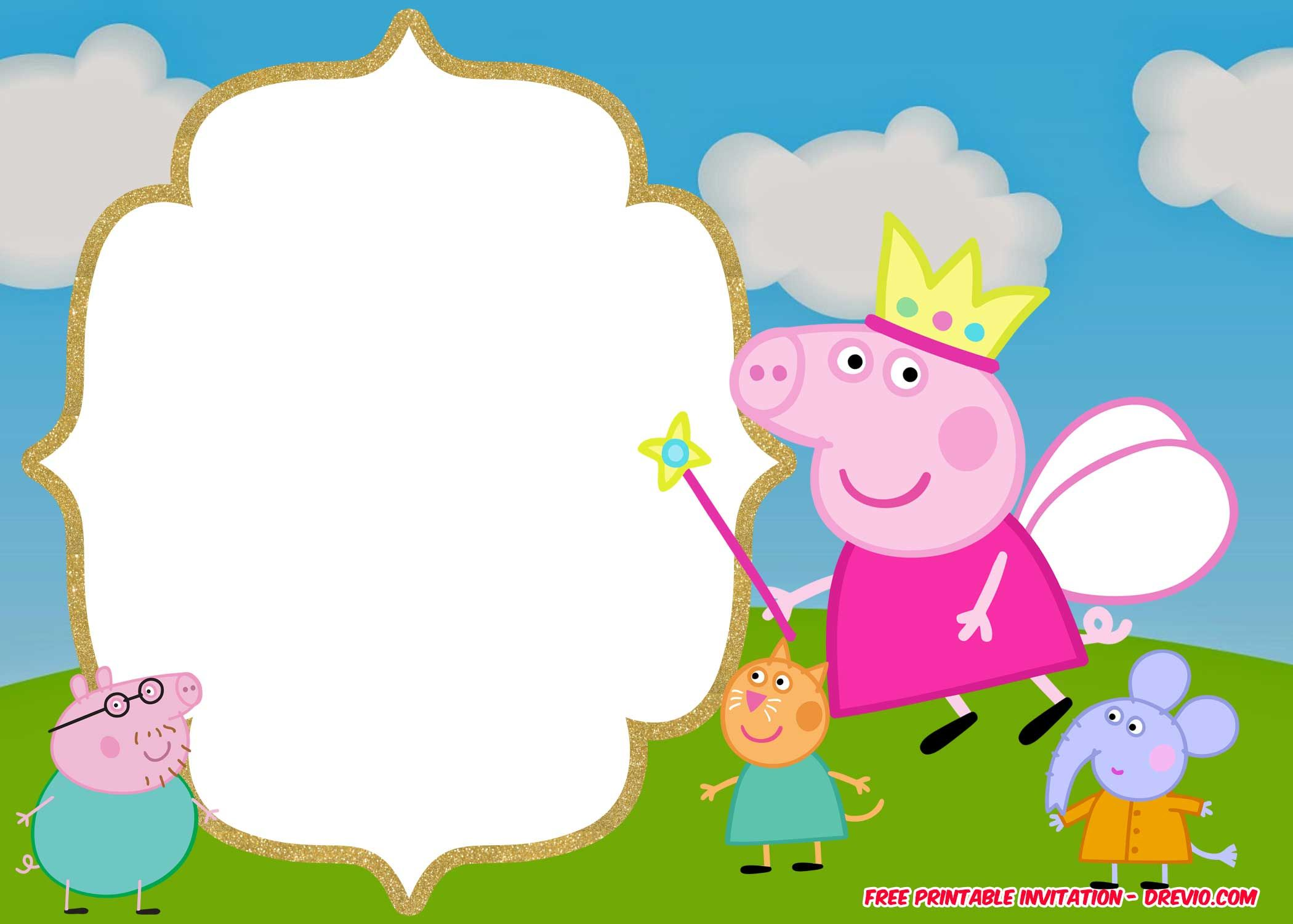 Free Printable Peppa Pig Invitation Template Peppa Pig Invitations Pig Birthday Invitations Peppa Pig Birthday Invitations