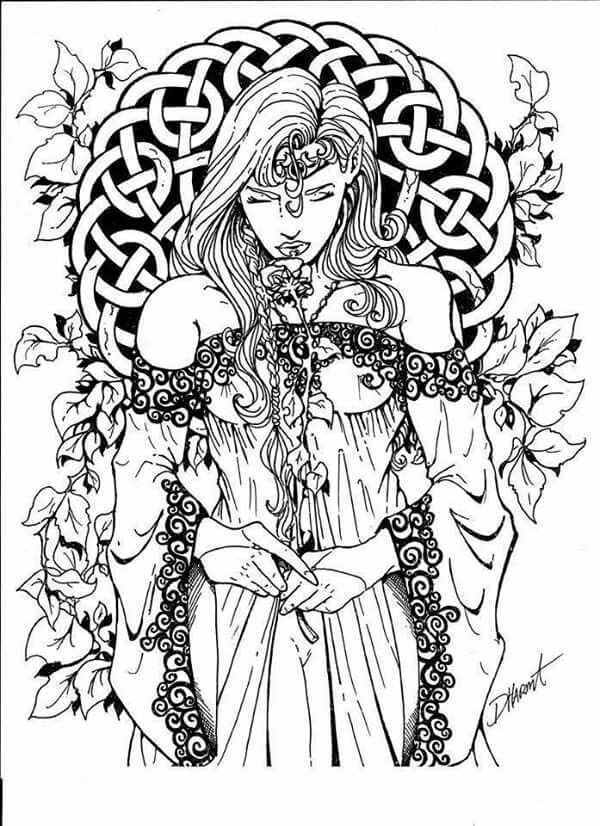 Celtic Goddess Coloring Sheet Witch Coloring Pages Coloring Pages Fairy Coloring Pages