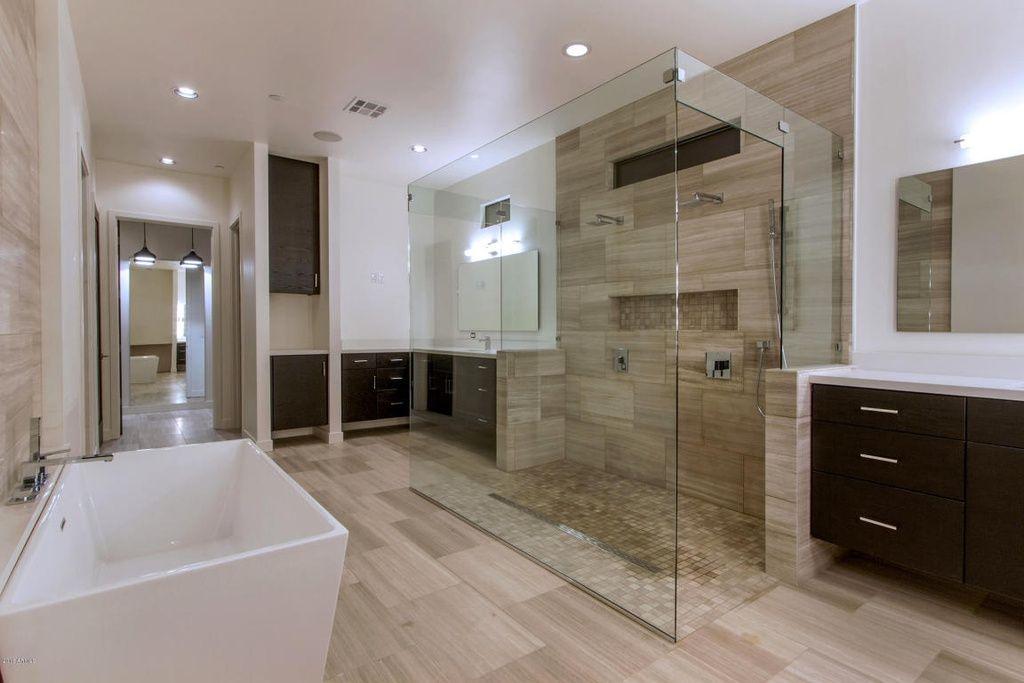 Contemporary Master Bathroom With Specialty Tile Floors High Ceiling Rain Shower Underm Modern Master Bathroom Small Master Bathroom Luxury Master Bathrooms