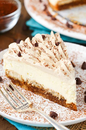 Tiramisu Cheesecake With Vanilla Wafer Crumbs, Salted Butter, Sugar, Cream Cheese, Mascarpone, Sugar, Heavy Whipping Cream, Powdered Sugar, Vanilla Extract, Warm Water, Instant Espresso Powder, Kahlua, Ladyfingers, Heavy Whipping Cream, Kahlua, Powdered Sugar, Cocoa