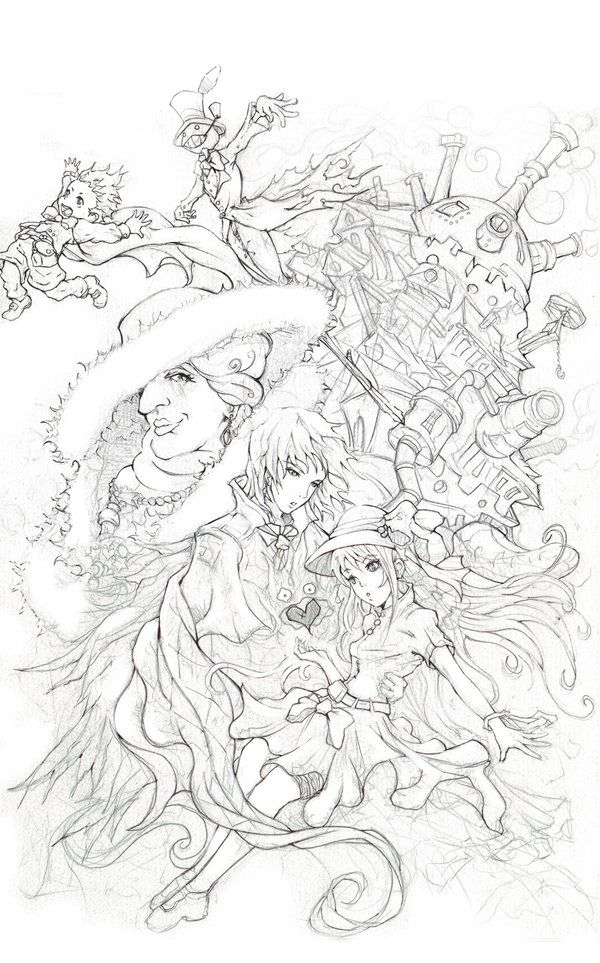 howls lineart~ididnttouchher more howls moving castle