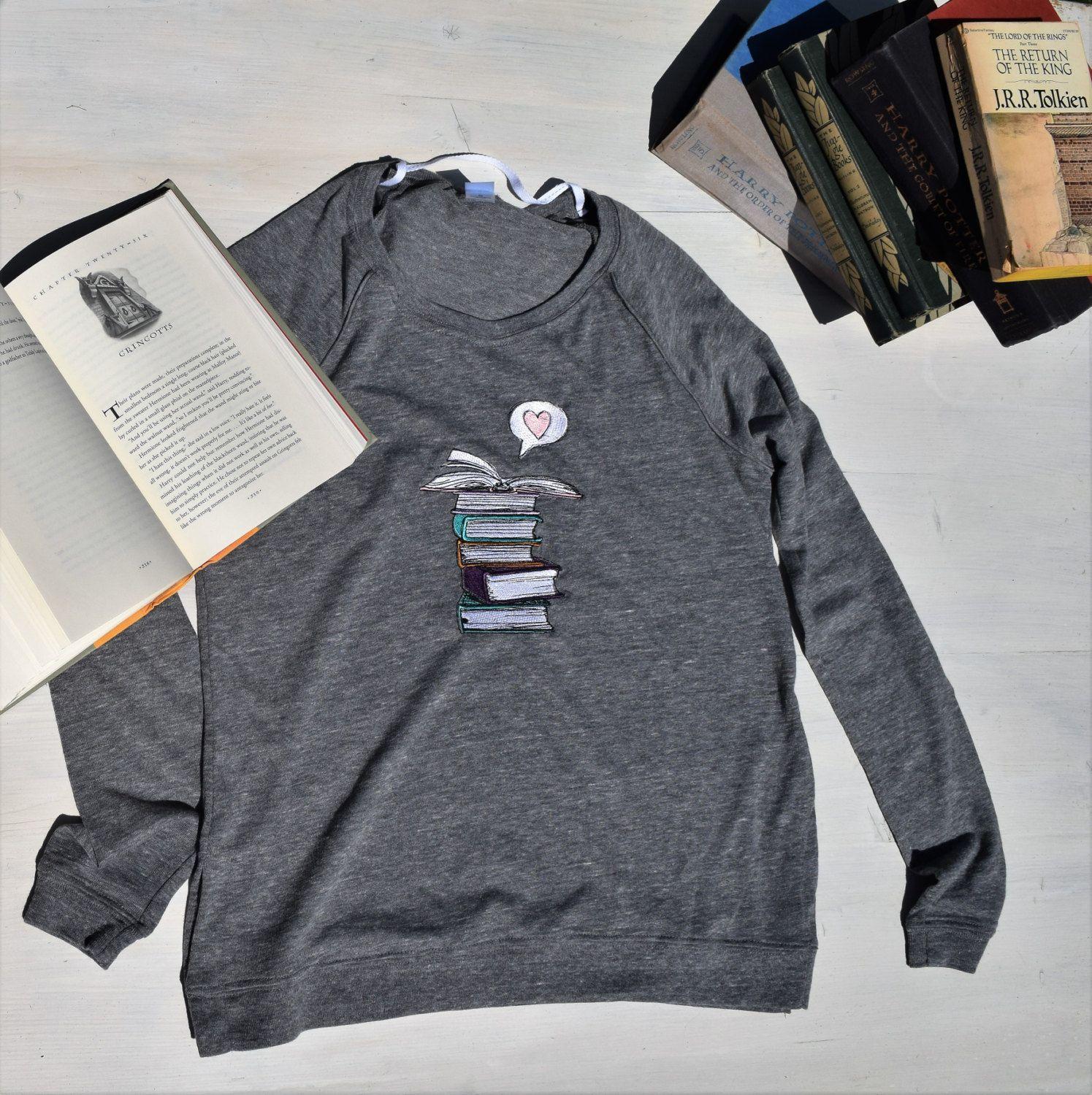 Hipster Book Lover Pullover Embroidered Bibliophile Book
