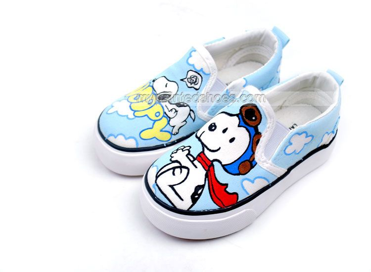 3c1a5d7b0fd6b1 Anime Snoopy Cartoon hand Painted Slip on Canvas Shoes