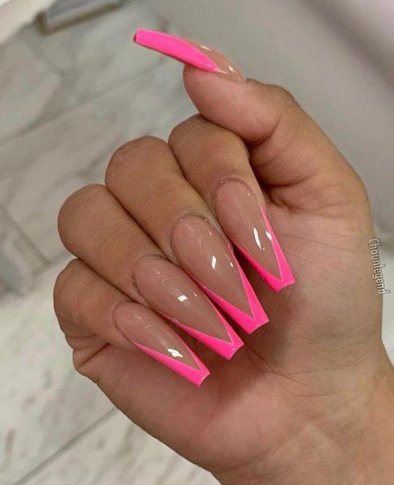 Beautiful Pink Long Acrylic Nails Neon Acrylic Nails Long Acrylic Nails Pink Acrylic Nails