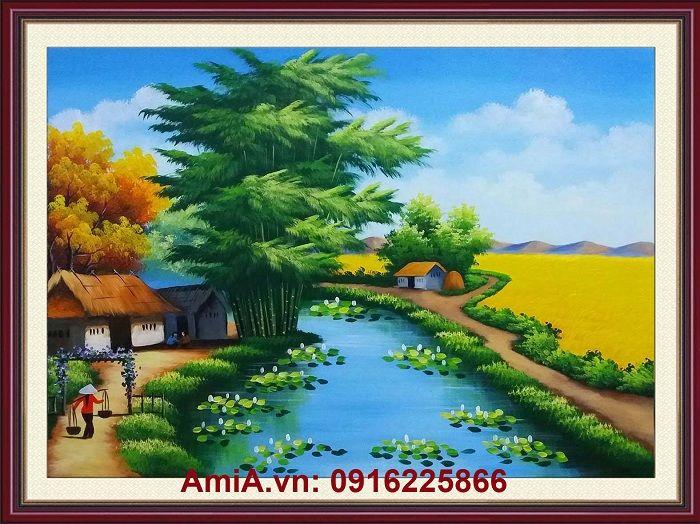5 Mẫu tranh phong cảnh làng quê Việt Nam đẹp nhất | hỗn hợp