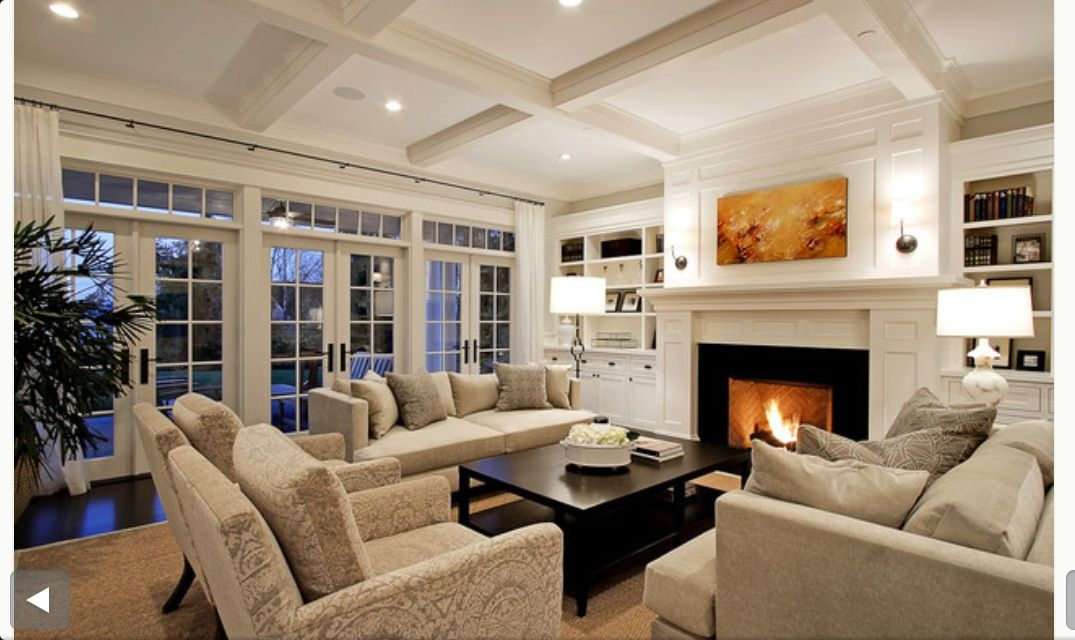 Living Room Great Furniture Pieces And Layout Focal Fireplace Box Beam Ceiling Recessed Lightin With Images Traditional Design Living Room Traditional Living Room Home #recessed #lighting #placement #living #room