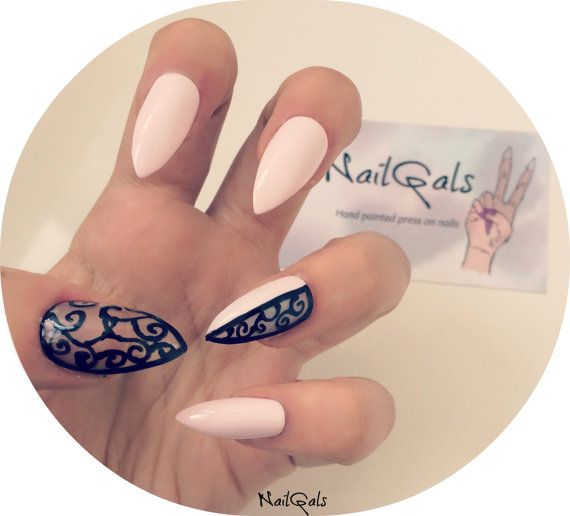 Baby Pink Negative E Baroque Stiletto Nails Set Of 20 Hand Painted