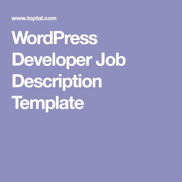 WordPress Developer Job Description Template | Web Design Resources