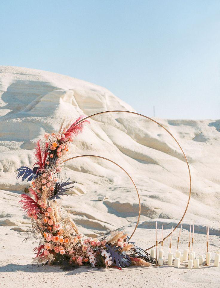 Romance + Whimsy Meets Celestial Elopement Inspiration in Milos, Greece | Elopement inspiration, Cer
