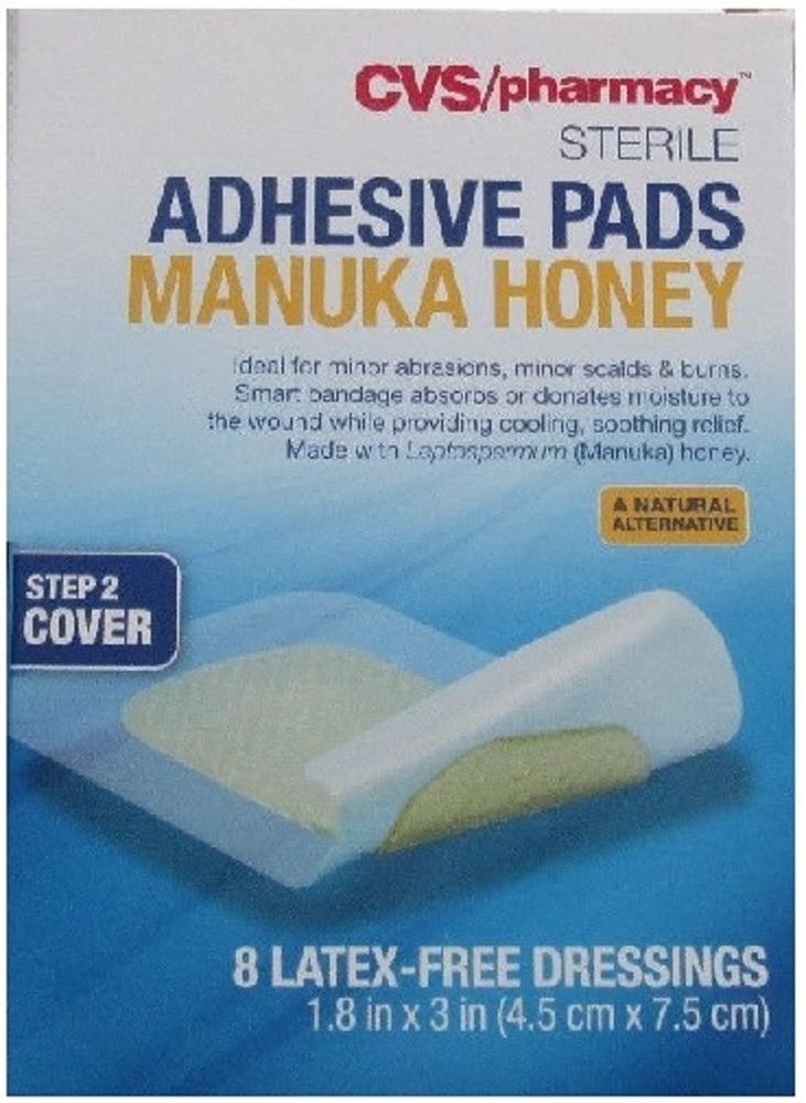 Box 8 Cvs Sterile Adhesive Manuka Honey Wound Burn Pads Latex Free