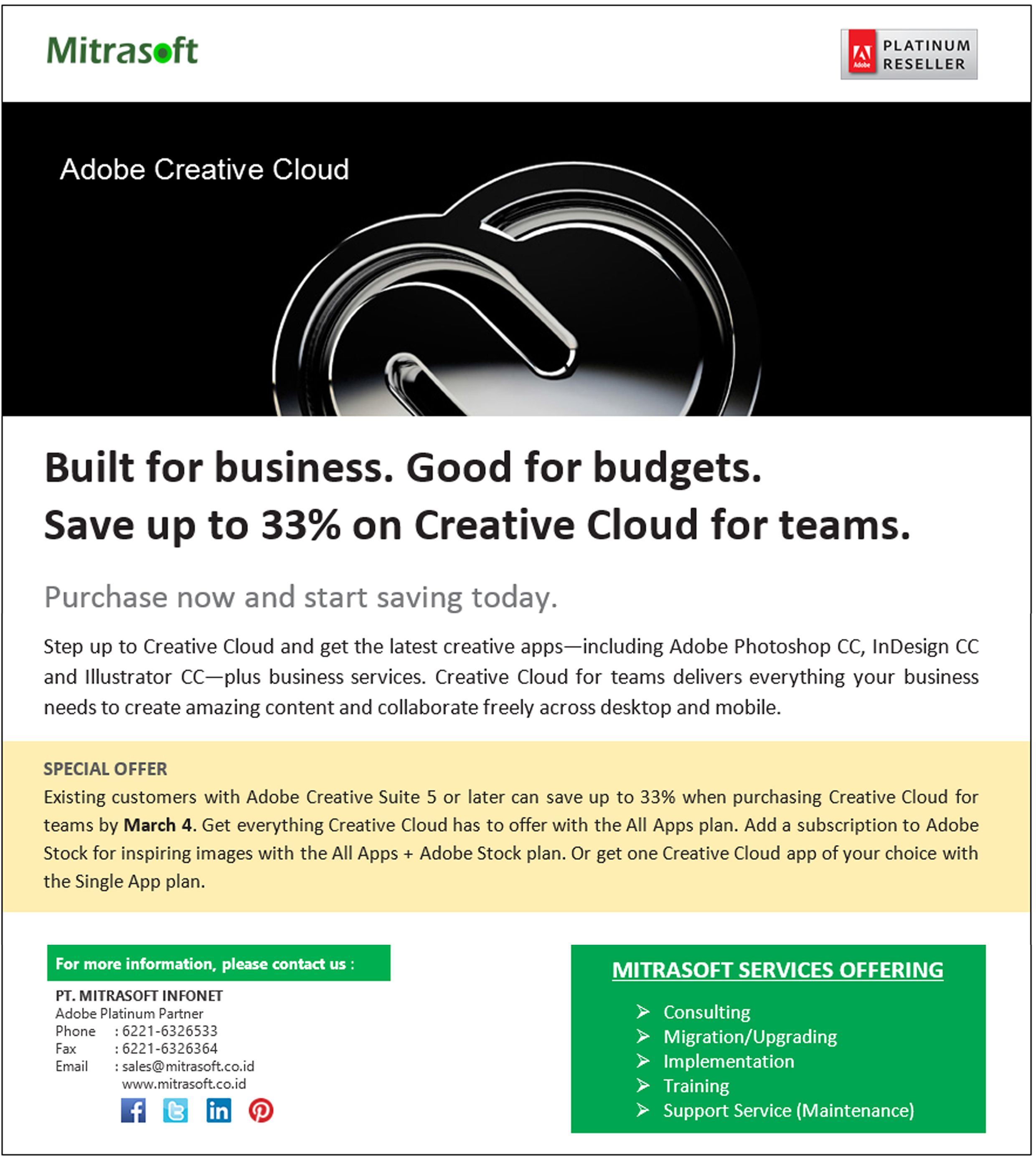 Mitrasoftpromo Adobe Built For Business Good For Budgets Save Up To 33 On Creative Cloud For Teams Like Us Creative Cloud Adobe Creative Cloud Budgeting