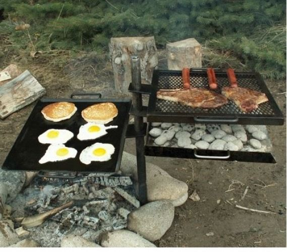 Awesome Campfire Grill Griddle Grate Portable Adjustable Camping Stove Camp Cook