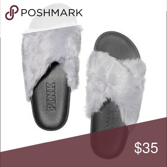 4c6550e5f081b Selling this VS Pink M faux fur crisscross slides. Brand new on ...