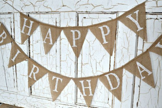 Happy Birthday Burlap Banner Party White