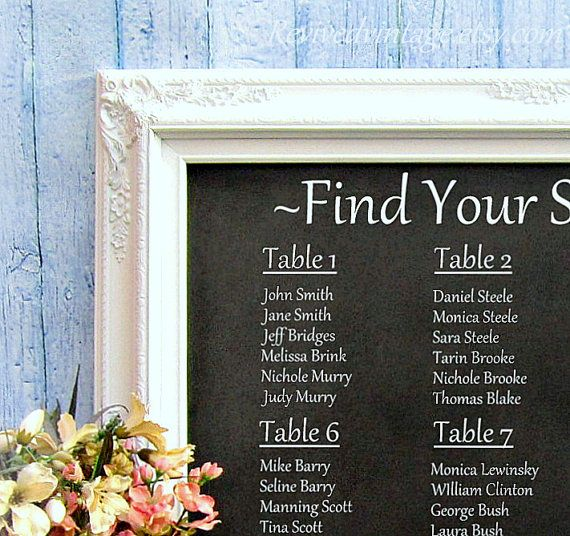 WEDDING SEATING CHART Ideas Decorations Chalkboard Framed White ...
