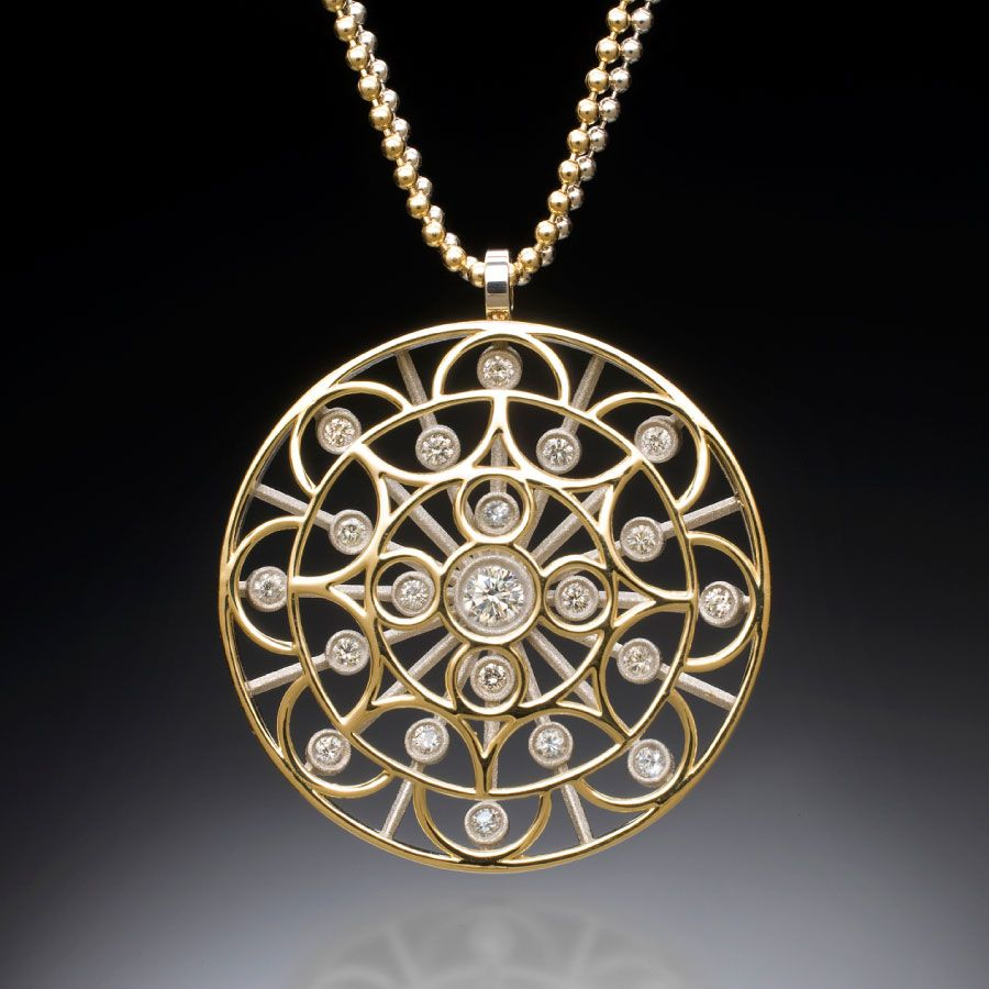 Buddhist Mandala Diamond Pendant is part of Diamond pendant, Gallery jewelry, Mandala jewelry, Fine jewelry designers, Necklace, Designers jewelry collection - An ancient Buddhist Mandala design is floating over an Art Deco spray that is set with round brilliant diamonds positioned at the openings of the design above