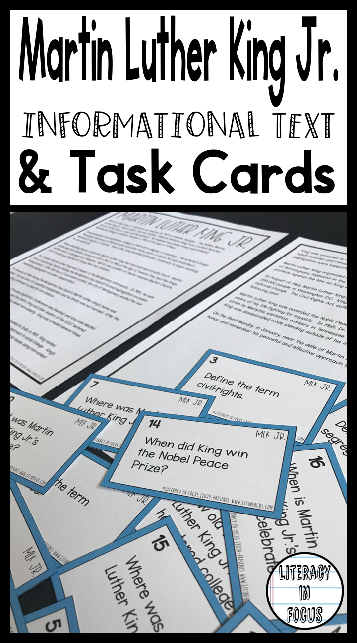 Martin Luther King Jr. Informational Text and Task Cards | Martin ...