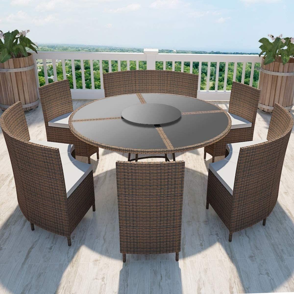 Salon De Jardin Circulaire 12 Places En 2020 Mobilier Jardin Meubles De Patio En Osier Table De Patio Ronde