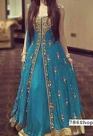 Blue Crinkle Chiffon Suit Buy Pakistani Designer Fashion
