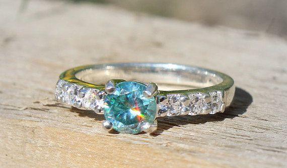 Blue moissanite engagement ring Sterling Silver Band by SagesLeaf