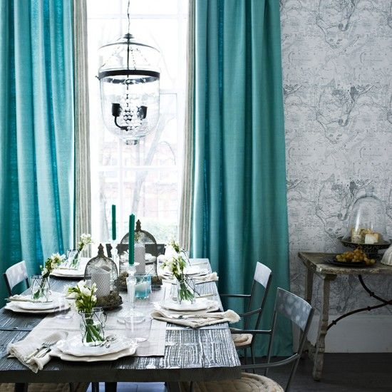 Grey Tones Dining Room With Turquoise Curtains