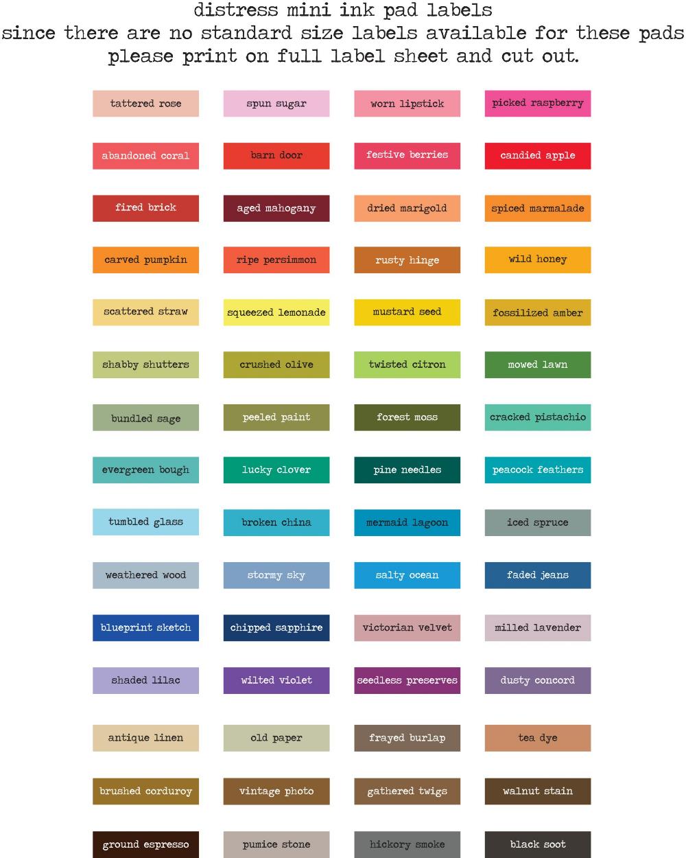 Tim Holtz Distress Oxide Ink Labels