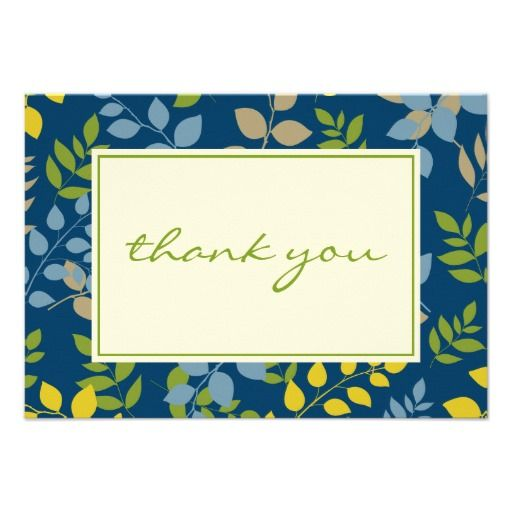 ShoppingFlat Thank You Note Card Chic Leaves Border Personalized - best of invitation cards for wedding price