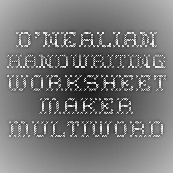DNealian Handwriting Worksheet Maker Multiword – Kindergarten Handwriting Worksheet Maker