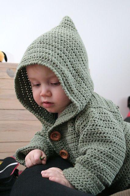 bd781386c609f Free crochet pattern for baby hoodie - so cute. http   www.