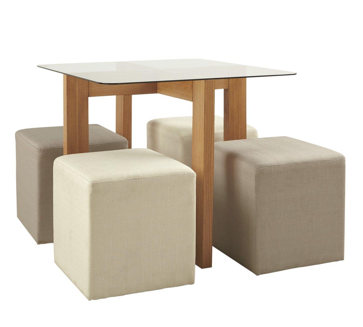 Buy Collection Vasso Glass & Ash Veneer Table & 4 Stools