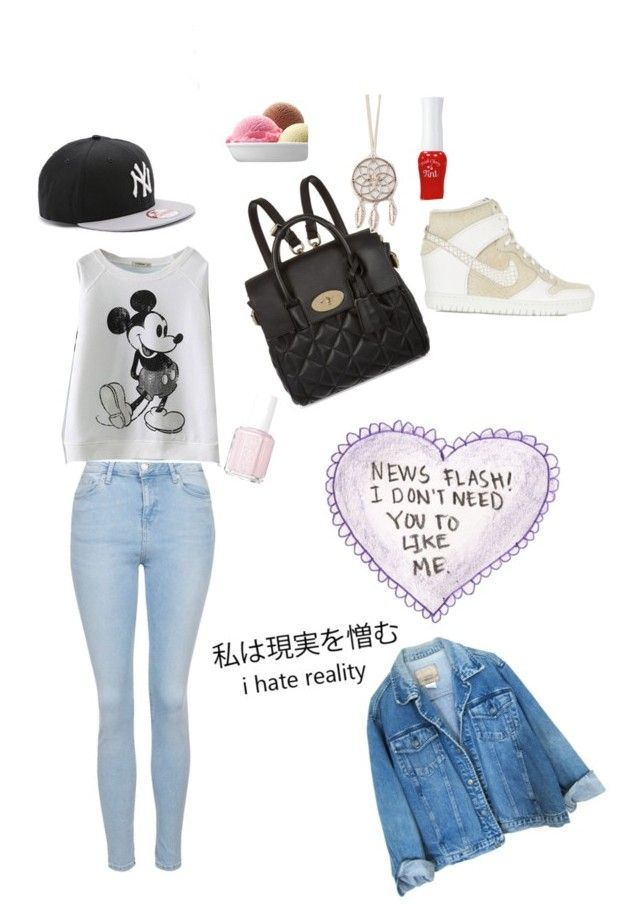 """""""I don't need you to like me."""" by pamcakeslolol ❤ liked on Polyvore featuring Mulberry, Topshop, New Era, Full Tilt, Essie, Etude House and NIKE"""