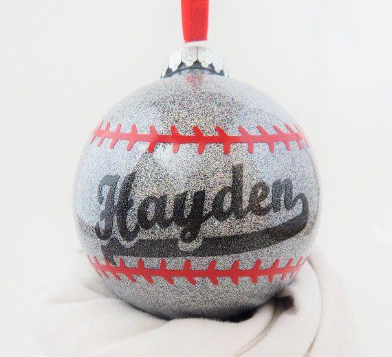 baseball ornament personalized baseball christmas ornament - Baseball Christmas Ornaments
