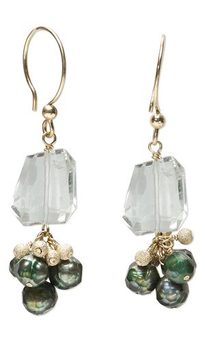 Earrings with Quartz Crystal Gemstone Beads, Cultured Freshwater Pearls and 14Kt Gold-Filled Beads - Fire Mountain Gems and Beads