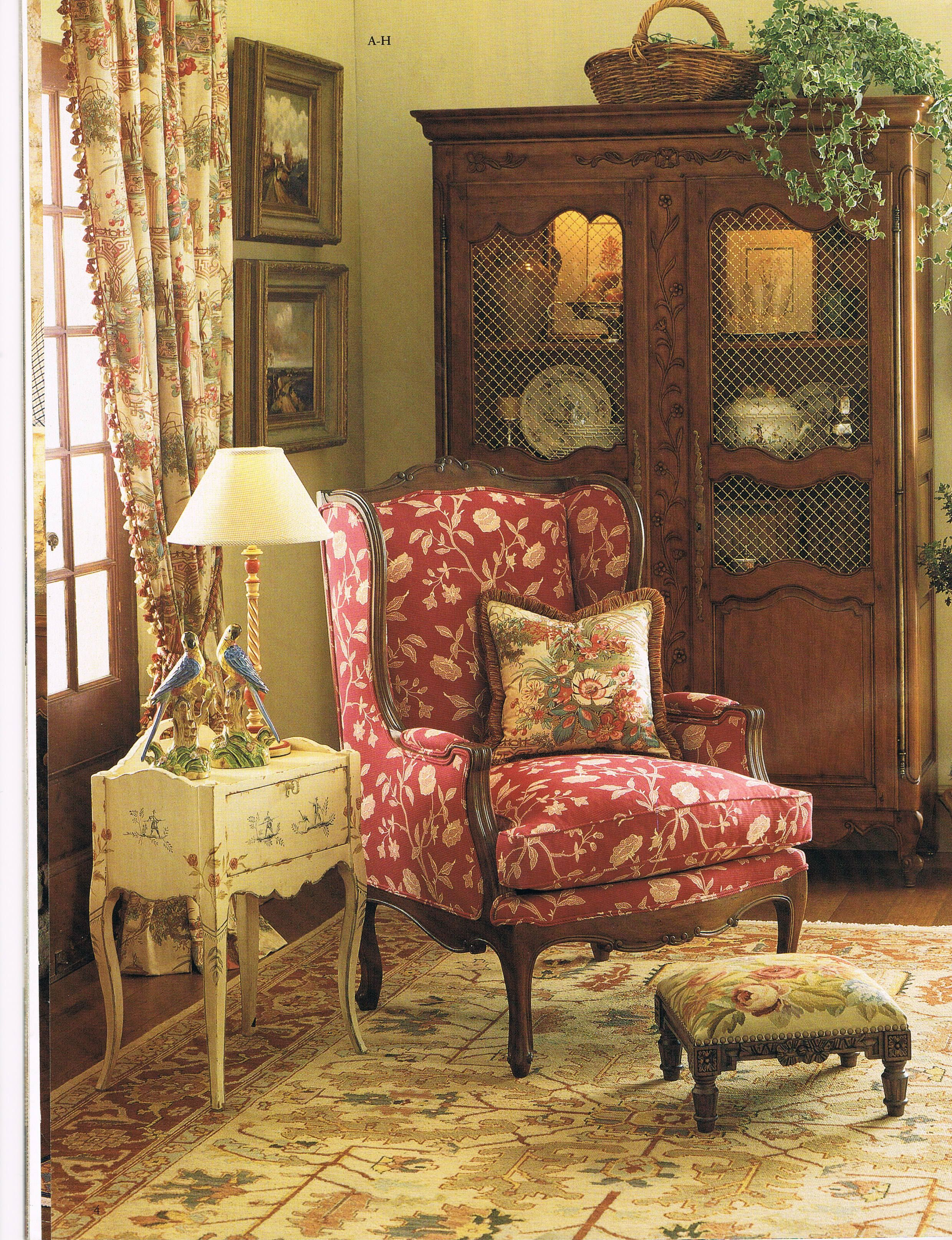 French Country By Pierre Deux   The Red Chair Is A Pop Of Color In A  Neutral Toned Room.