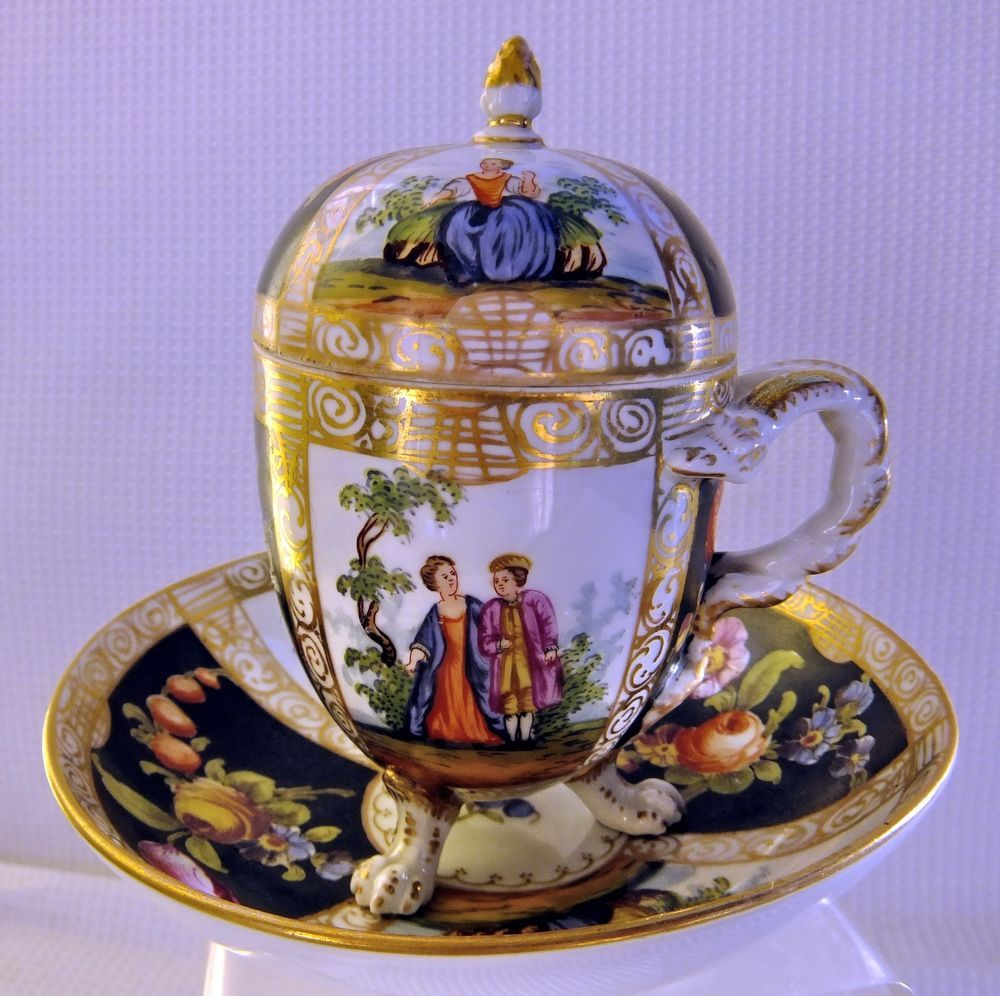 Antique Dresden, Covered Cup & Saucer