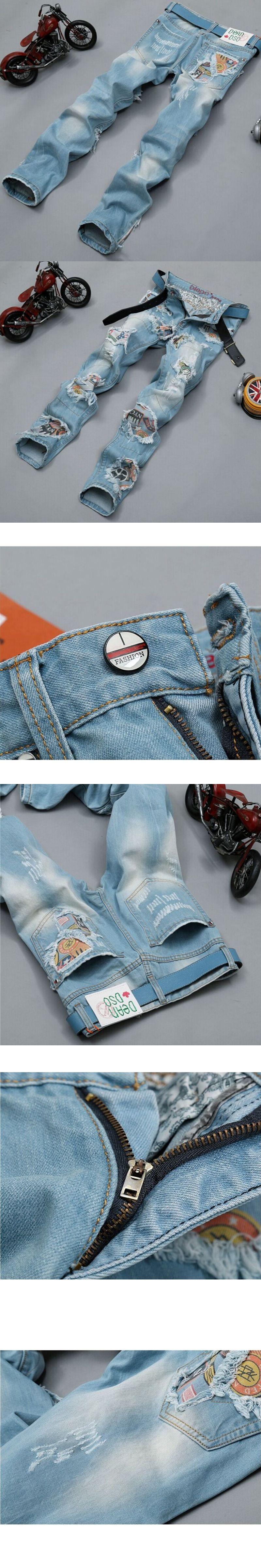 Biker jeans 2017 New Designer Slim Jeans Men's High Quality hip hop Ripped Jeans pants Straight Hole Denim Jeans 30-38