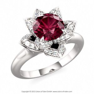 sterling silver rhodolite garnet lotus blossom petite engagement ring with diamonds - Garnet Wedding Rings