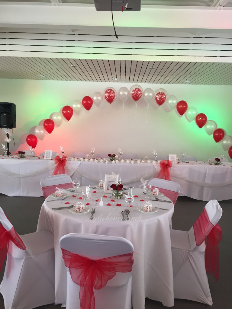 Wedding top table balloon arch www.stylisheventsmk.co.uk | Wedding ...