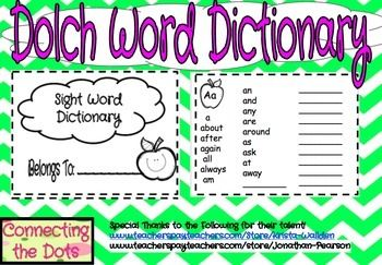 This is a great resource to use in your classroom! Every student could have their own copy to use as a reference when writing. Give them the confidence they need to get their thoughts down on paper! This dictionary contains all of the Dolch sight words.
