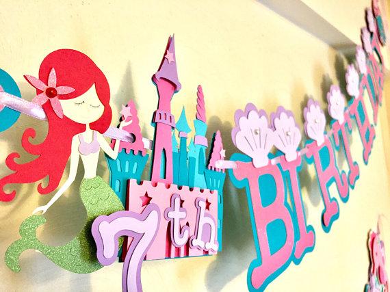 Mermaid Happy Birthday Banner and Mermaid Name Banner, Under The Sea