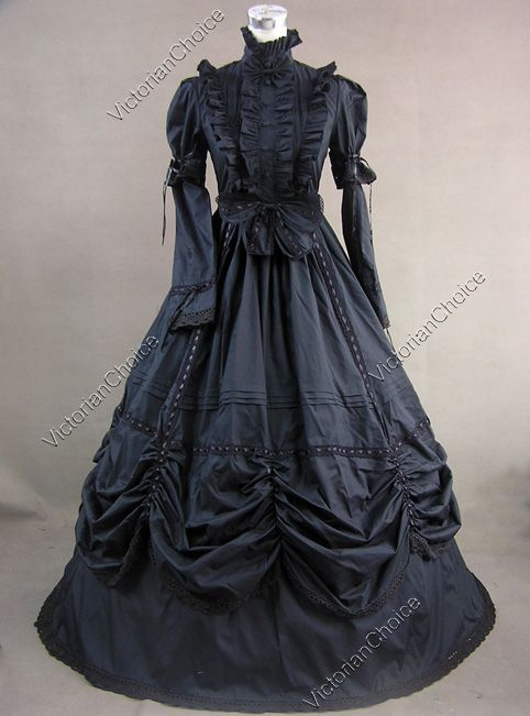 Gothic Lolita Cotton Ball Gown Dress Prom Steampunk Reenactment 229 L
