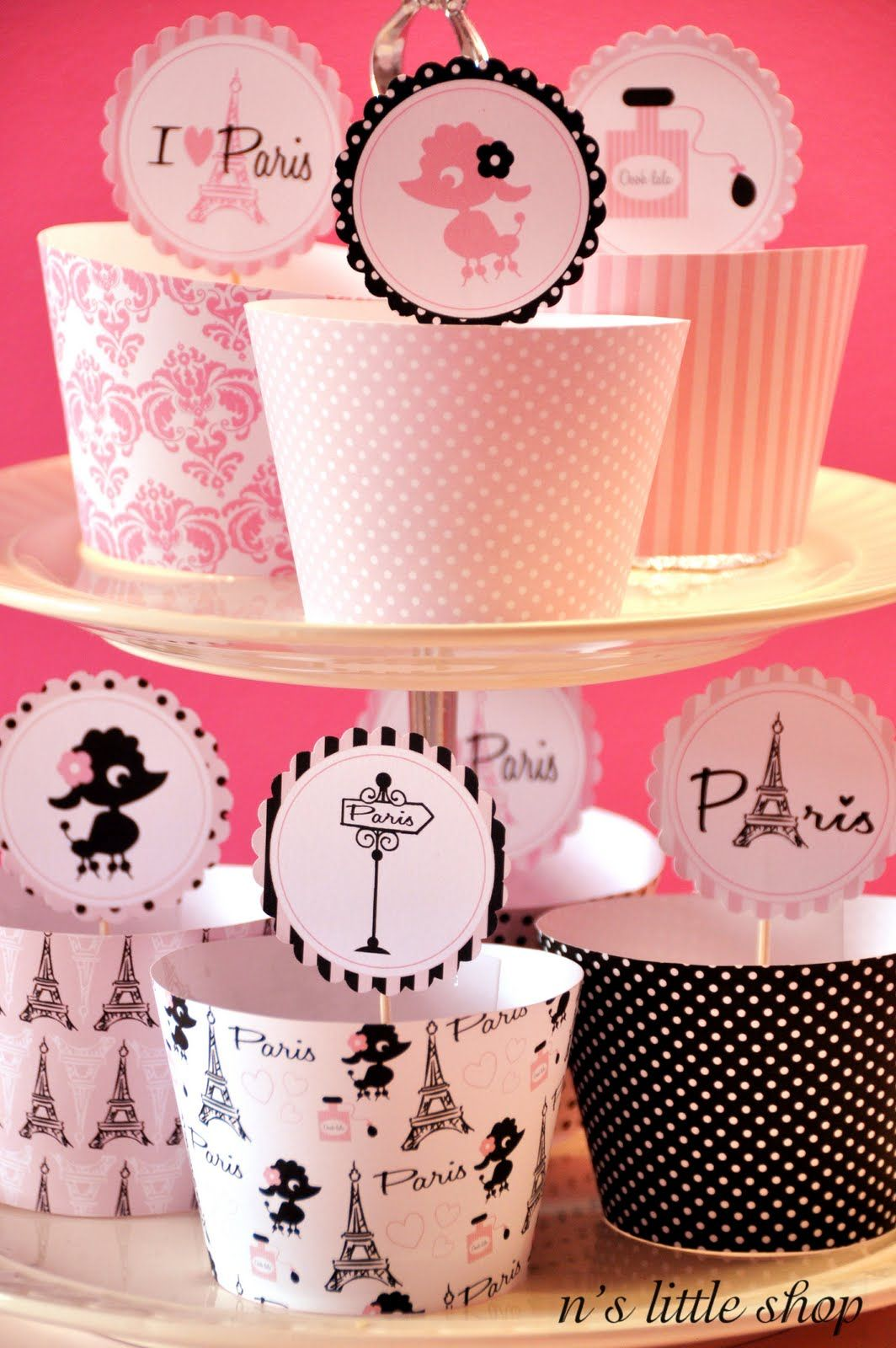 Decoration Cupcake Toppers | nslittleshop party decorations and more: Paris Oui, Oui,